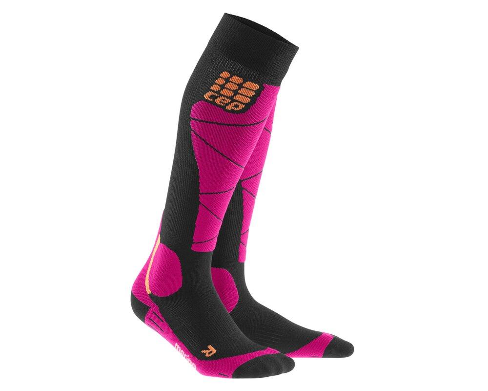 Lyžiarske kompresné podkolienky CEP Ski Merino Socks women čierna ružová 1c2acc51cfb